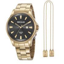 Kit Relógio Masculino Seculus Aço Dourado e Escapulário Nossa Senhora Aparecida 35001GPSKDA1K1 -