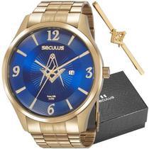 Kit Relógio Masculino Seculus Analógico 20762GPSKDA1K1 Dour -
