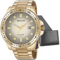 Kit Relógio Masculino Seculus Com Carteira 20852GPSVDA2K2 -