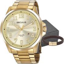 Kit Relógio Masculino Seculus Com Pulseira 20856GPSVDA1K2 -