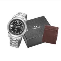 Kit Relógio Masculino Seculus Prata com Carteira 23639G0SVNA1K1 -