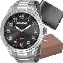 Kit Relógio Mondaine Masculino Prata com Carteira 83437G0MVNE1K -