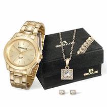 Kit Relógio Seculus Feminino 28876LPSVDA1K1 Colar e Brincos -