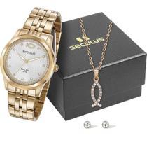 Kit Relógio Seculus Feminino 28968lpskda1k1 -