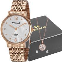 Kit Relógio Seculus Feminino Dourado Com Colar 28969LPSVRA2K1    Tamanho -