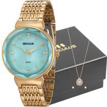 Kit Relógio Seculus Feminino Dourado Com Colar e Brincos 20594LPSVDS1K1    Tamanho -