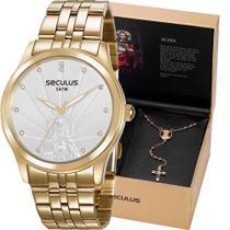 Kit Relógio Seculus Feminino Dourado Com Colar Jesus 35006LPSKDA1K1    Tamanho -