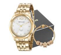 Kit Relógio Seculus Feminino Dourado Com Pulseira 28968LPSKDA1K2 -