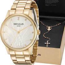 Kit Relógio Seculus Feminino Dourado Jesus Cristo 28918LPSKDS1K1 -