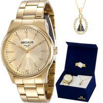 Kit Relógio Seculus Feminino Dourado N.S. Aparecida 28654LPSVDA1K1 -