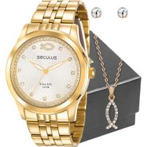 Kit Relógio Seculus Feminino Dourado Peixe Cristão Com Colar -