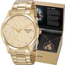 Kit Relógio Seculus Feminino Dourado São Jorge 35019LPSKDA1K1 -