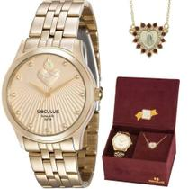 Kit Relógio Seculus Feminino Fé Dourado 28823LPSKDA1K1 -
