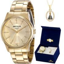 Kit Relógio Seculus Feminino N.S. Aparecida 28654LPSVDA1K1 -