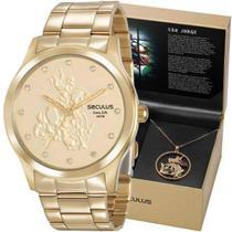 Kit Relógio Seculus Feminino São Jorge Dourado 35019LPSKDA1 -