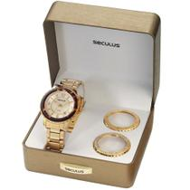 Kit Relógio Seculus Feminino Troca Aro Analógico 24773LPSFDS2 -