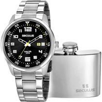 Kit Relógio Seculus Masculino Com Cantil 20802G0SVNA3K1 -