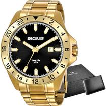 Kit Relógio Seculus Masculino Com Carteira 20801GPSVDA2K1 -