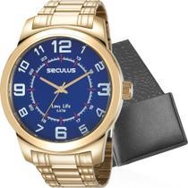 Kit Relógio Seculus Masculino Dourado Com Carteira 23641GPSVDA3K1 Analógico 5 Atm Cristal Mineral -