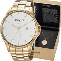 Kit Relógio Seculus Masculino Dourado Com Colar 35015GPSKDA1K1 Analógico 5 Atm Cristal Mineral -