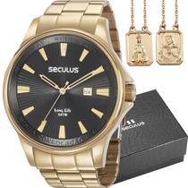 Kit Relógio Seculus Masculino Dourado com Escapulário 35001GPSKDA1K1 -