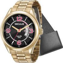 Kit Relógio Seculus Masculino Dourado Com Porta Cartões 23647GPSVDA3K1 Analógico 5 Atm -