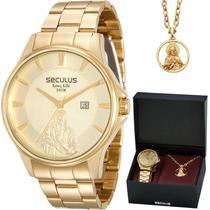 Kit Relógio Seculus Masculino Dourado Long Life 28919GPSKDA1K1 -