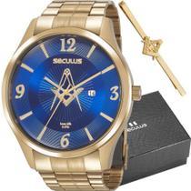 Kit Relógio Seculus Masculino Dourado Prendedor Maçon 20762GPSKDA1K1 -