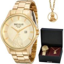 Kit Relógio Seculus Masculino Long Life 28919GPSKDA1K1 Dourado -