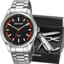 Kit Relógio Seculus Masculino Prata Com Canivete 28979G0SVNA2K -