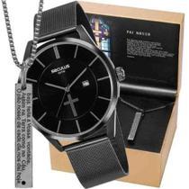 Kit Relógio Seculus Masculino Preto Pai Nosso 20769GPSKPA1K1 -