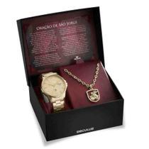 Kit Relógio Seculus Masculino São Jorge + Colar e Medalha 28933GPSKDA1K1 -