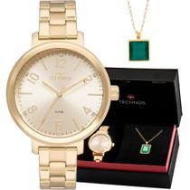 Kit Relógio Technos Feminino Dourado Com Colar e Brincos 2035MMT/K4D -