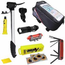 Kit Reparos Bike + Bolsa Quadro + Bomba + Farol e Lanterna - GTS