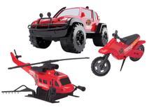 Kit Rescue Force Jipe Helicóptero e Moto - Brinquedos Cardoso