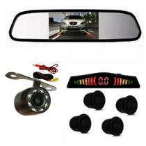 Kit Retrovisor Lcd C/camera Visao Noturna + Sensor Re Preto - Import Ts