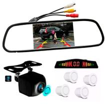 Kit Retrovisor Lcd Camera Visao Colorida + Sensor Re Branco - First Option