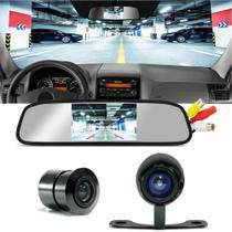 Kit Retrovisor Tech One com tela embutida com entrada de Vídeo + Camera de Ré -