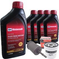 Kit revisão Ford troca de óleo Motorcraft 5W30 e filtros - Ka Ecosport Fiesta Zetec Rocam - 5 Litros -