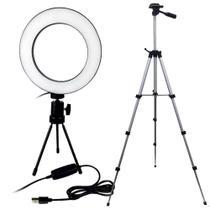 Kit Ring Light 16cm Profissional Usb com Controle e Suporte + Tripé 120cm - Item Pai