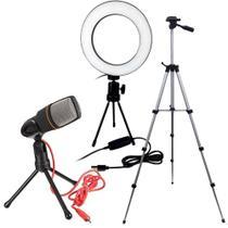 Kit Ring Light 16cm Profissional Usb com Controle + Tripe 120 cm + Microfone Condensador - Item Pai