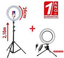 Kit Ring Light 26cm C/ Tripé 2,10m + Ring Light de Mesa 16cm com 1 Ano de Garantia - Redshock