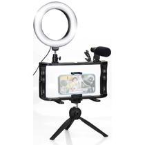 Kit Ring Light Celular c/ Microfone e Tripé + Suporte Estabilizador - Tudoprafoto