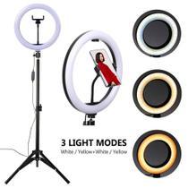 Kit Ring Light Completo Iluminador Com Tripé Dimmer Led 26CM  Para Maquiagem Foto Youtuber - Lx Shop