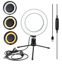 Kit Ring Light Iluminador Led Anel 16CM com + Mini Tripé Usb Para Fotos Selfie Vídeos Youtube - Lxshop