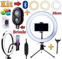Kit Ring Light Iluminador Luz Anel Led 26cm 10 Polegada Suporte Celular Profissional Tripé Youtuber + Controle Bluetooth - Leffa Shop