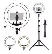 Kit Ring Light Luz Led Anel 26cm Selfie  + Tripé 1,8m com Controle Profissional -