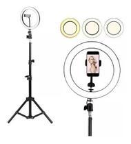 Kit Ring Light Luz Led Anel 30cm Selfie  + Tripé 2m com Controle Profissional -