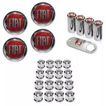 Kit Roda Calota Fiat Palio Uno Punto Linea Strada Idea Siena Fiorino Doblo Mobi Argo + Emblema Resinado + Tampa Ventil + Capa Parafuso - Emblema / tampa ventil / capa parafuso
