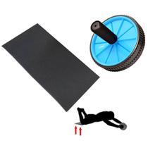Kit Roda de Exercicios Abdominais Azul + Apoio de Joelho Eva Preto  Mandiali -